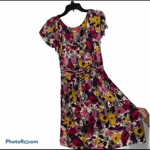 Elle Flowered Multi Colored Off Shoulder Dress S